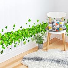 [SHIJUEHEZI] Green Fence Grass Wall Stickers Vinyl DIY Mural Art for Living Room Baseboard Decoration Muursticker