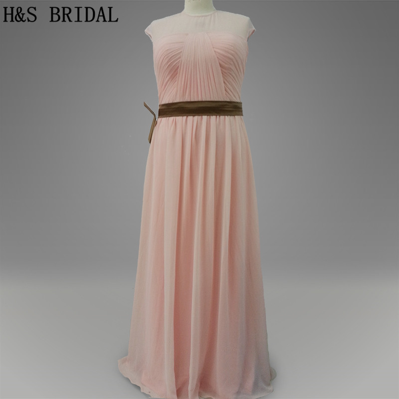 Real Model Pink color High neck chiffon long   bridesmaid     dresses