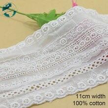 Ruban guipure en dentelle française brodée, 3yards, 11cm, 100% coton blanc, pour bricolage, garniture, tricot, accessoires de couture #3761