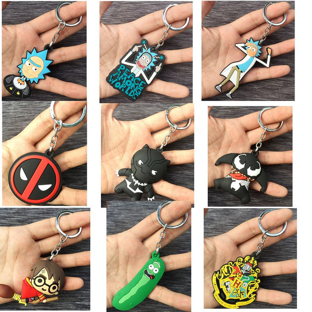 Monte de anime Deadpool Pantera Negra borracha 3D Keychain Chave Anéis Presente Cosplay New Kids Otaku