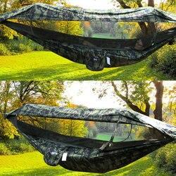 1-2 человека портативный открытый кемпинг гамак с тентом москитная сетка высокая прочность парашют ткань подвесная кровать охота качели