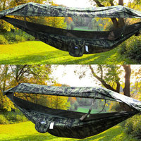 1 2 Person Portable Outdoor Camping Hammock with Awning Mosquito Net High Strength Parachute Fabric Hanging Bed Hunting Swing