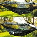 1-2 persoon Draagbare Outdoor Camping Hangmat met Luifel Klamboe Hoge Sterkte Parachute Stof Opknoping Bed Jacht Swing