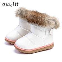 Фотография Winter Fashion child girls snow boots shoes warm plush soft bottom baby girls boots leather winter snow boot for baby  6