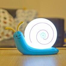 Night Light Decorative Lamp Lampe Bedroom Children Kids Baby USB Built in Battery Led Snail Kids Baby Sleeping Toilet Light