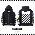 Best version New Arrival 2016 Fall Winter Off White Hoodie Men Woman embroidery badges Religious thick stripe zipper hat garment
