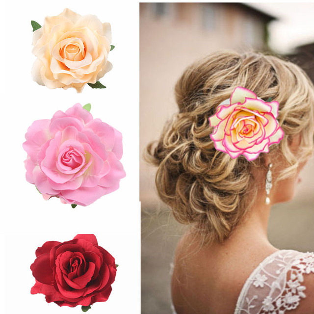 Wedding Hairstyle Bridal Large Handmade Rose Flower Hair Clip - Bridesmaid hairstyle beach