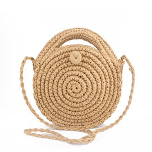 Round Straw Beach Bag Summer mini Vintage Handmade Crossbody Leather Bag Girls Circle Rattan bag Small Bohemian Shoulder bag(China)