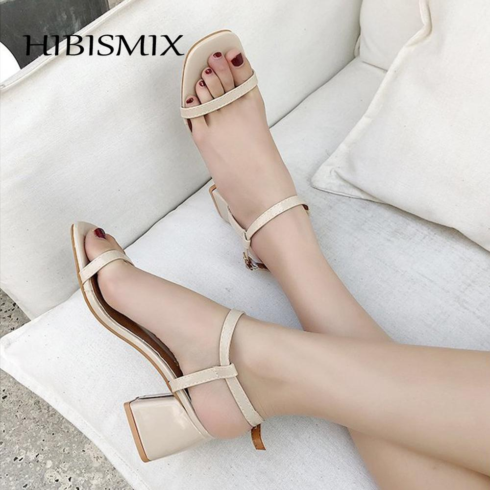 HIBISMIX Square Heel Sandal-Shoes Mid-Heeled-Sandals 1312 Casual Summer Women Band Narrow