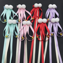2pcs/set Chinese Style Child Lovely Tiaras Hair Clips High Quality Ball Ribbon Bell for Children Girls Hairpins