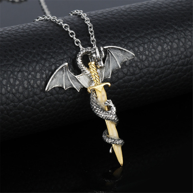 Game of Thrones Dragon Luminous Dragon Sword Pendants Necklace