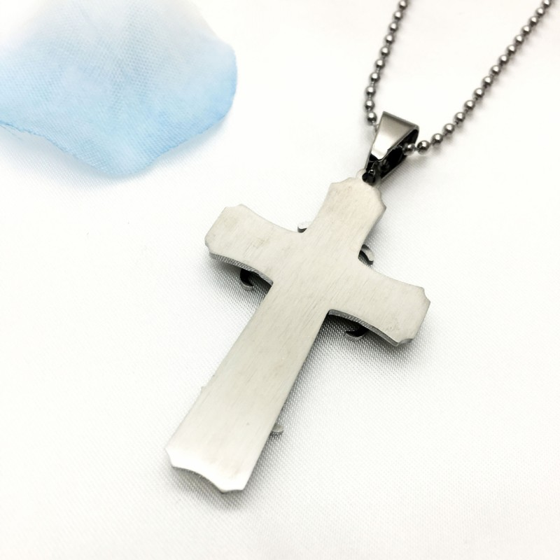 Купить с кэшбэком Stainless Steel Jesus Christ Cross Pendant Necklace Chain Gold Silver Color Necklace Men Women Boys Gift Punk Rock Ornaments