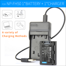 Camera Battery+Charger NP-FH50 NP FH50 NPFH50 For Sony HC7 SX44 TG5 TG1 A230 A330 A380 UX-20 DSC-HX1 HX100V HX200 HX200V