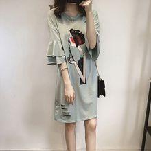 Women Summer Dress Cartoon Print Dress Casual Loose Party Dress Vestidos Plus Size 4XL plus cartoon print tee dress