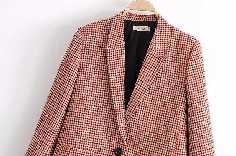 SML Plaid Taille Blazers Slim Picture Boyfriend Printemps Casual As 2018 Petit Rétro Manteau Bureau Nouveau Mode Costume Costumes Dames 5AR3jLq4