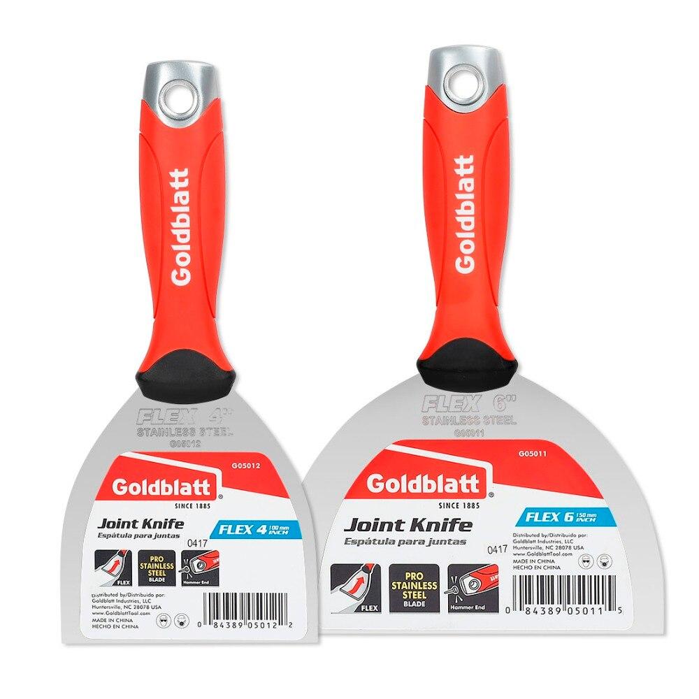 Goldblatt Putty Knife Stainless Steel Flex Joint Knife W/ Hammer End Soft Grip