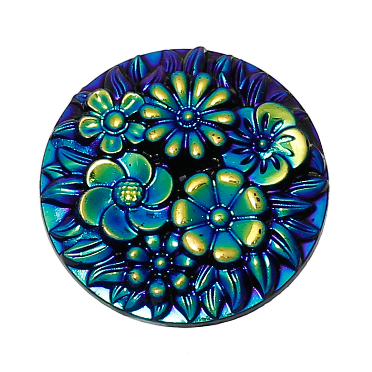 DoreenBeads Resin Embellishments Findings Round Blue AB Color Flower Pattern 20mm(6/8)Dia,30 PCs 2015 new
