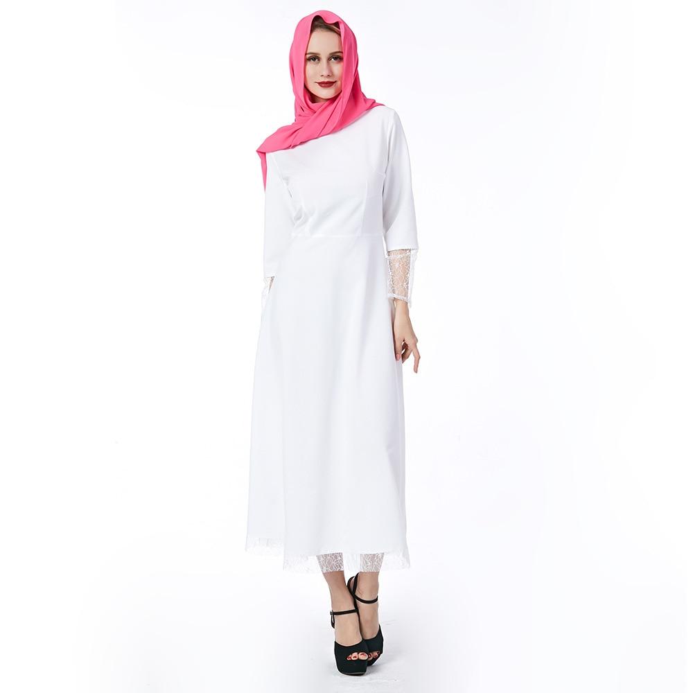Mode nova femmes robe élégante avec écharpe 2018 printemps automne style populaire européen et américain musulman blanc robes en dentelle