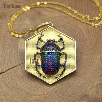 Beetle Cutely Insect Charm With Hexagon Gold Color Finish Copper Chains Colorful Zircon Beads Pave Charm In 18 Inch NM10380