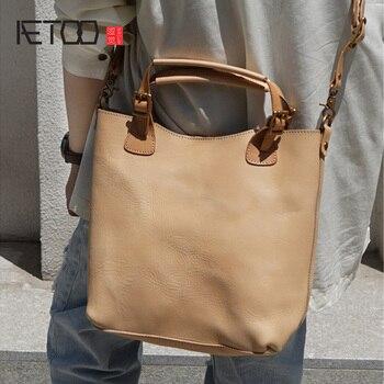 AETOO Handmade fashion shoulder handbag, lady tanned cowhide composite bag, vintage handbag