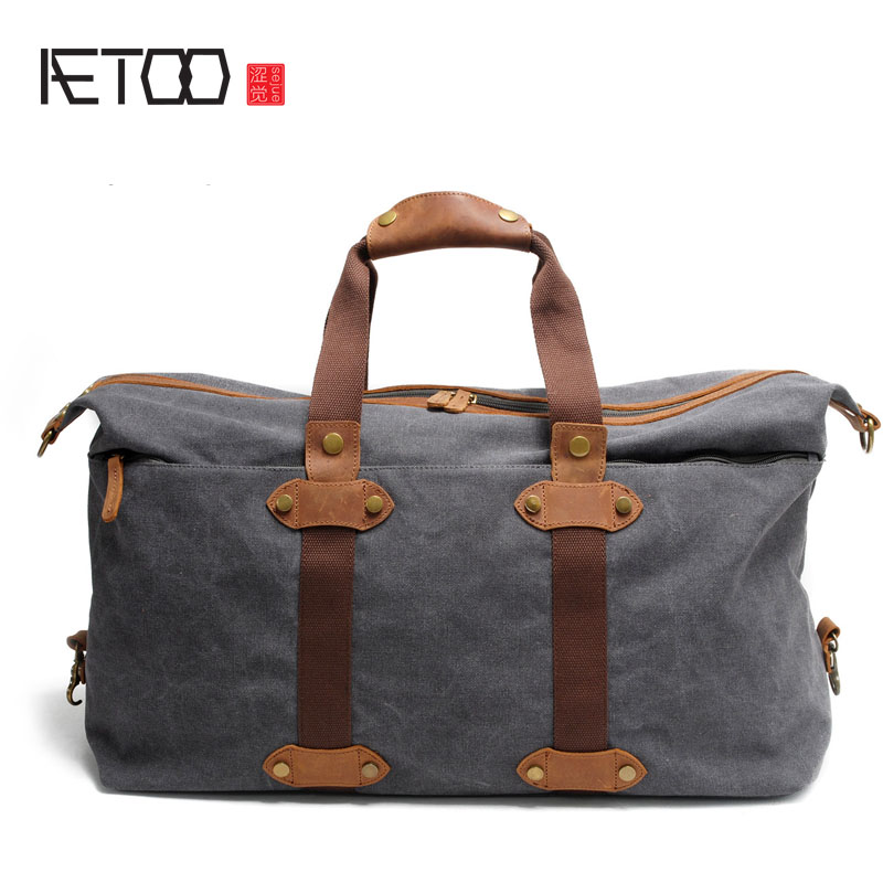 AETOO Canvas bag retro leather travel bag shoulder handbag large capacity with leather luggage bag large size handbag retro bag 100