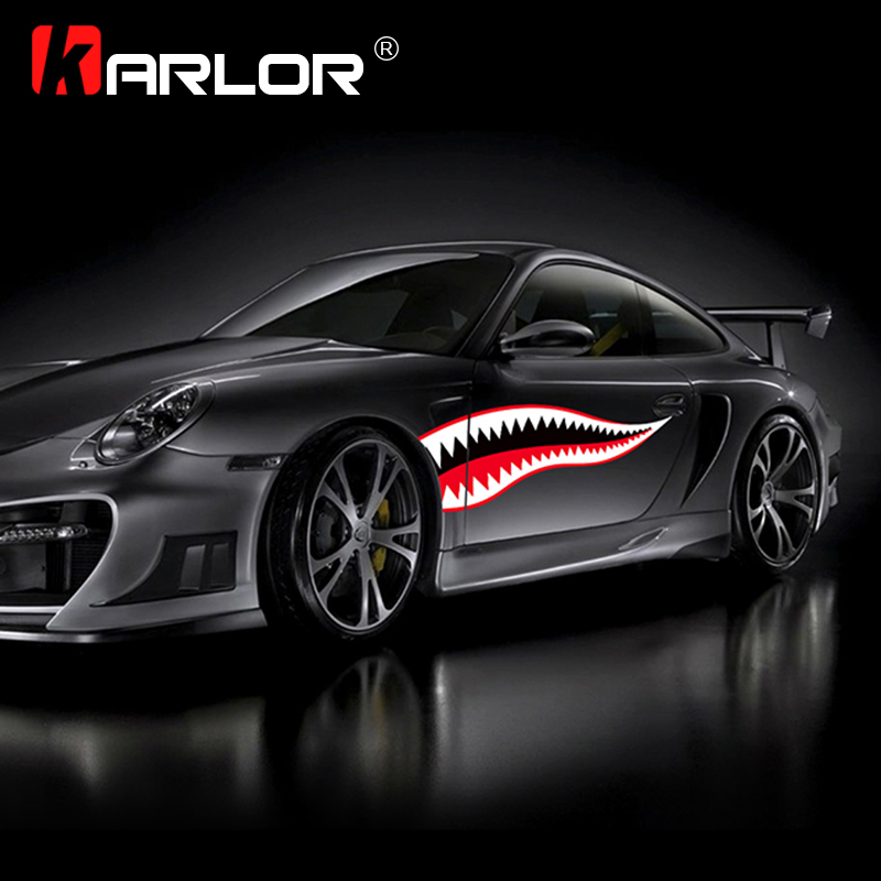 Shark Mouth Funny Car Stickers Waterproof Exterior Side