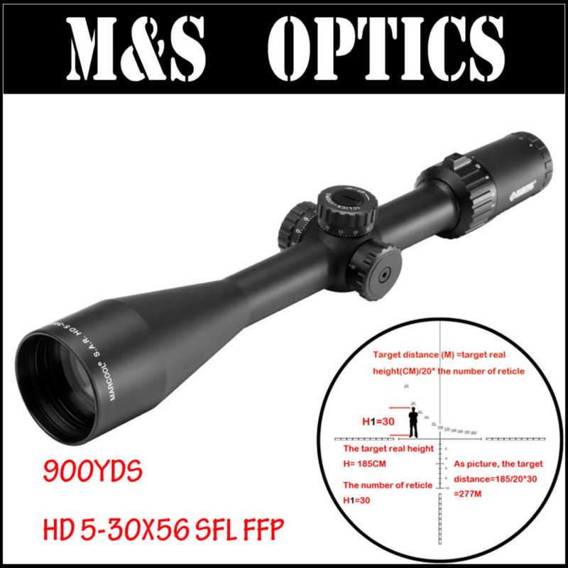 MARCOOL  S.A.R. HD 5-30X56 SFL FFP Hunting Tactical Optical Sight Rifle scope Free with 30MM Bubble Level Ring Mount marcool evv 6 24x50 sfirgl first focus plane tactical rifle scope