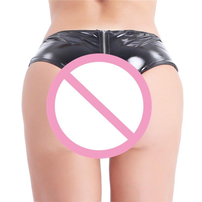 YiZYiF Sexy Women Open Crotch Fetish crotchless panties Latex Shorts Women Sexy Shorts Mini Shorts Zipper