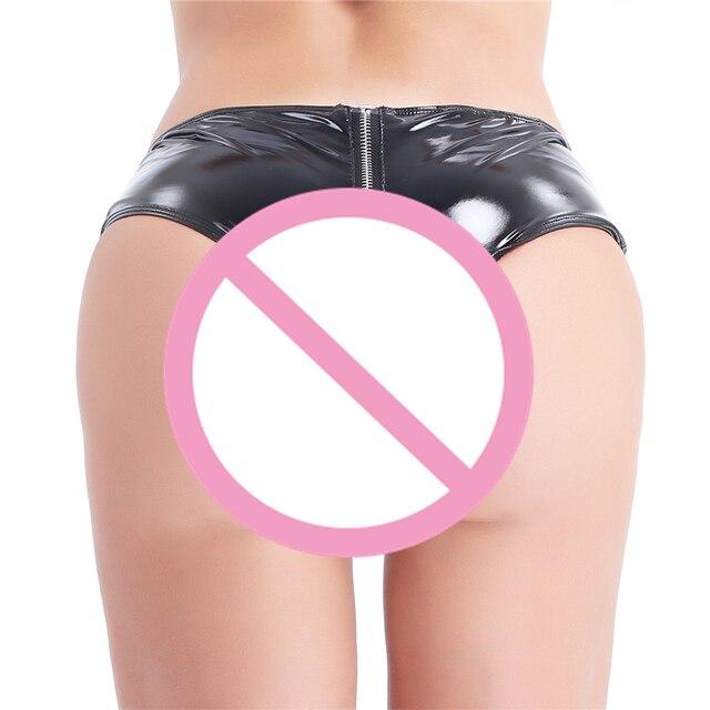 YiZYiF Sexy Women Open Crotch Fetish crotchless panties Latex Shorts Women Sexy Shorts Mini Shorts Zipper Open Crotch Shorts 3