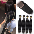 Unprocessed Virgin Malaysian Straight Hair With Closure 4*4 Inch 3Part Lace Closure Bleached Knots 100% Remy Human Hair Bundles