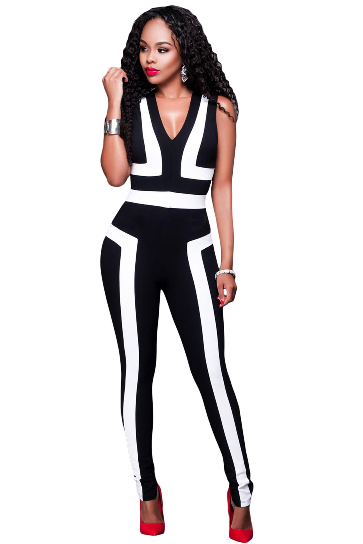 Black-White-Color-Block-V-Neck-Sleeveless-Catsuit-LC64186-2-1