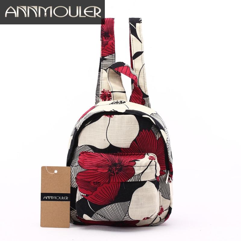 Annmouler Famous Brand Backpacks Vintage Cotton Backpack Mini Shoulder Bag For Teenager Girls Hippie Aztec Folk Women Bag