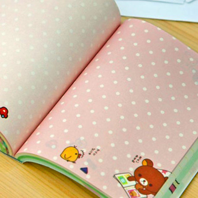 Kawaii Cartoon Rilakkuma Print Cover Color Page Mini Notebook Diary Notepad Travel Book Bear Relaxed