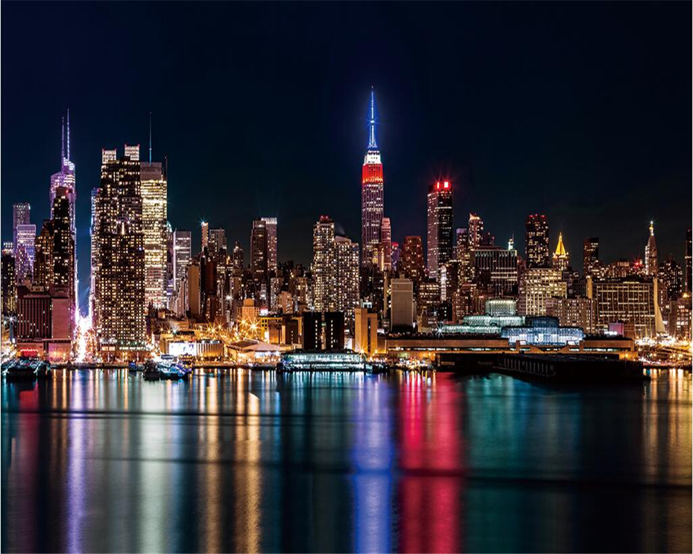 Beibehang Custom Wallpaper New York Night City Abstract Television Background Living Room Bedroom Sofa Background 3d Wallpaper