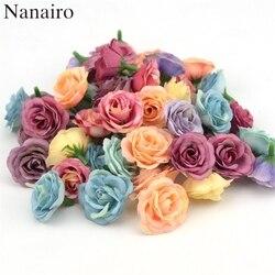 10 pçs 2.5cm mini rosa pano artificial flor para festa de casamento decoração do quarto casa sapatos de casamento chapéus acessórios flor de seda