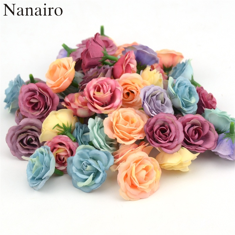 10pcs 2.5cm Mini Rose Cloth Artificial Flower For Wedding Party Home Room Decoration Marriage Shoes Hats Accessories Silk Flower