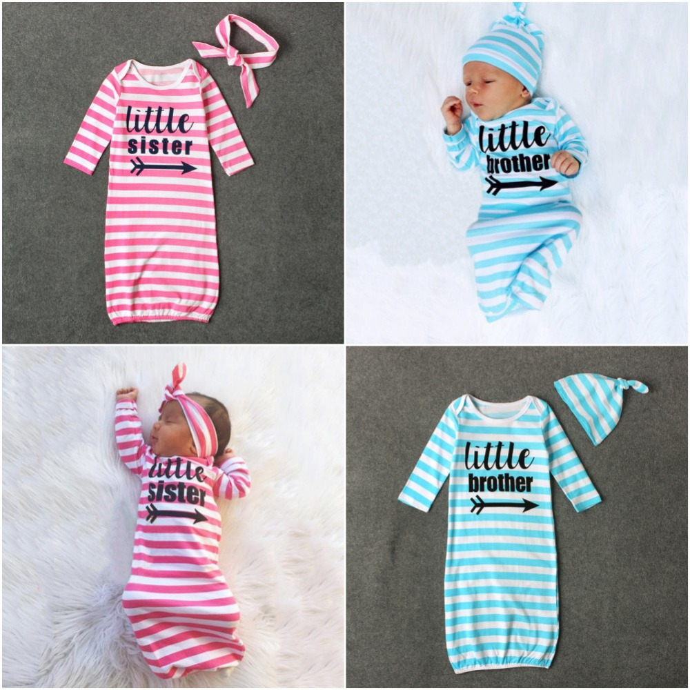 2PCS English Letter Striped Long Sleeve Sleeping coth+Hair Accessory Air Conditioning Kick Preventing Quilt Babys Sets
