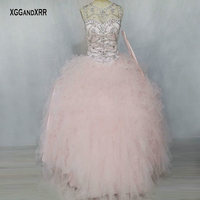 Pink Quinceanera Dresses 2018 Scoop Tank Sleeveless Sparkling Beading Ruffle Lace Up Back Ball Gown Prom Dress for 15 16 Sweet