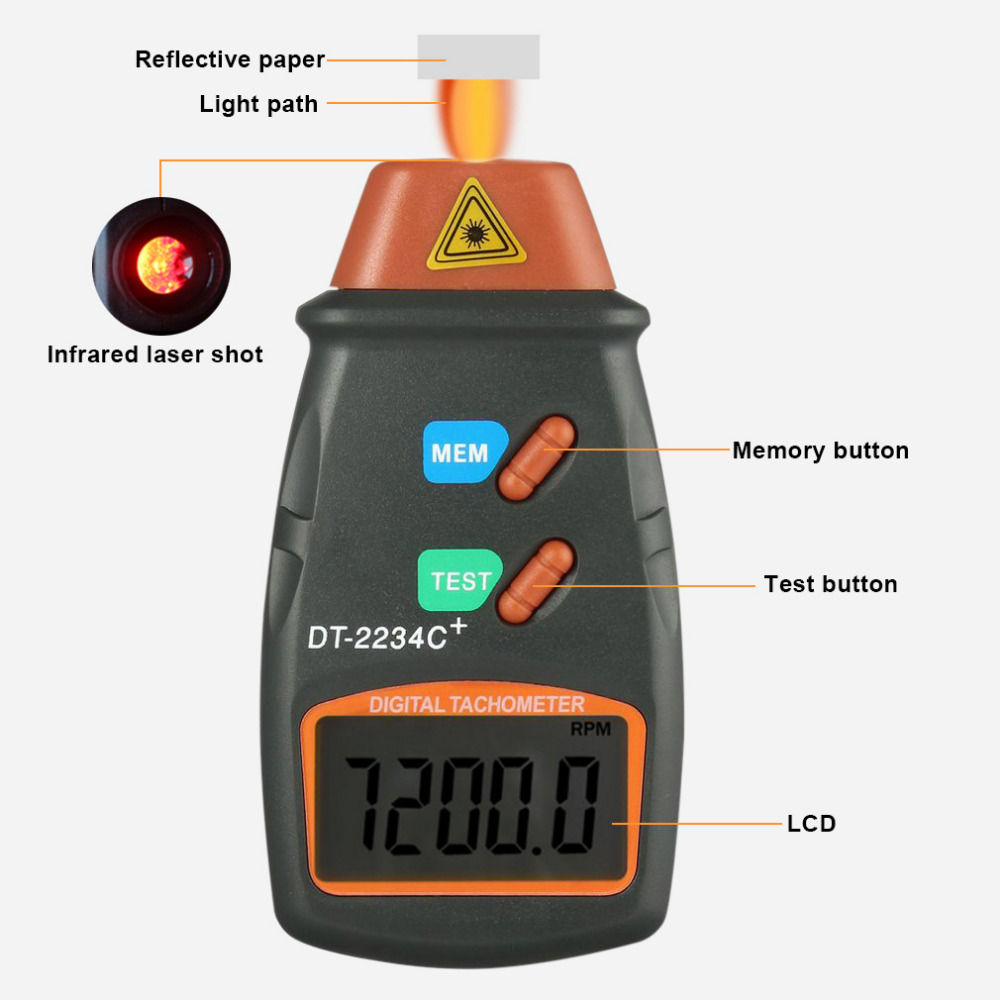 2018 High Quality Digital Laser Tachometer RPM Meter Non-Contact Motor Lathe Speed Gauge Revolution Spin 2.5 to 999.9 RPM Hot цена