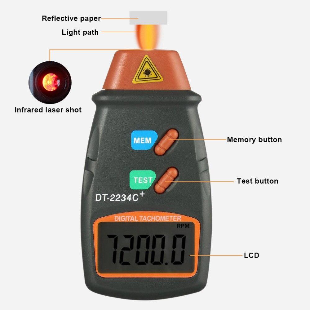 2018 alta calidad láser Digital tacómetro RPM medidor sin contacto Motor torno medidor de velocidad revolución giro 2,5 999,9 RPM caliente