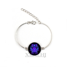 XKXLHJ 12 Constellation Virgo Leo Aries Gemini Art Glass Metal Bracelet Fashion Lady Lucky Jewelry,