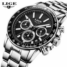 Mens Relojes de Primeras Marcas de Lujo Cronógrafo de Cuarzo de Moda Reloj de Los Hombres de Acero Lleno Impermeable Deporte Reloj Reloj Relogio masculino