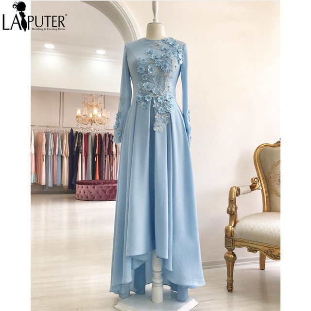 1bd2f9a358a Sky Blue Chiffon Long Sleeves Dubai Arabic Muslim Evening Dresses Lace  Appliques Flowers A-line Women Prom Dress Party Gowns