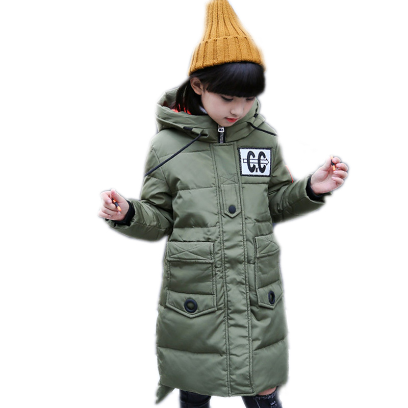 girls winter jacket 2017 new children outwear long section letter printed girls duck down jackets thicken warm girls parka coat 2015 new girls design jacket luxury brand child outwear flower printed coat