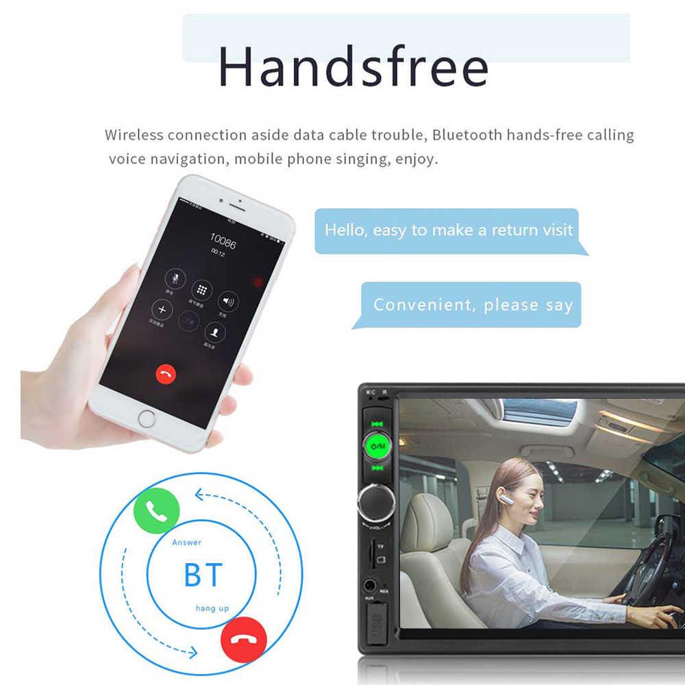 Podofo 7 pulgadas HD Car Multimedia player 2 Din Bluetooth coche Radio MP5 FM USB Autoradio pantalla táctil Audio estéreo cámara de visión trasera