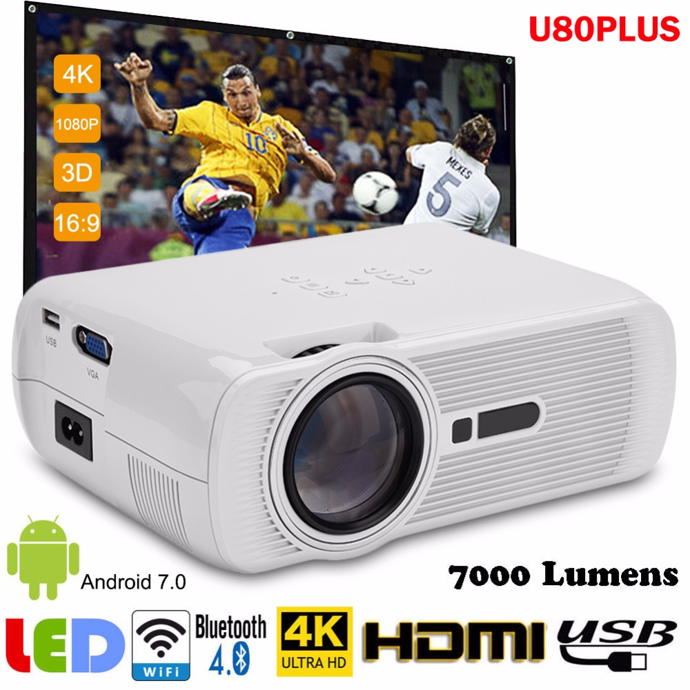 100% Kwaliteit Upgrade Mini Projector Bluetooth Wifi Hdmi Lcd Home Theater Beamer Led Proyector Android 7.0 Full Uhd 1080 P Video Media Speler