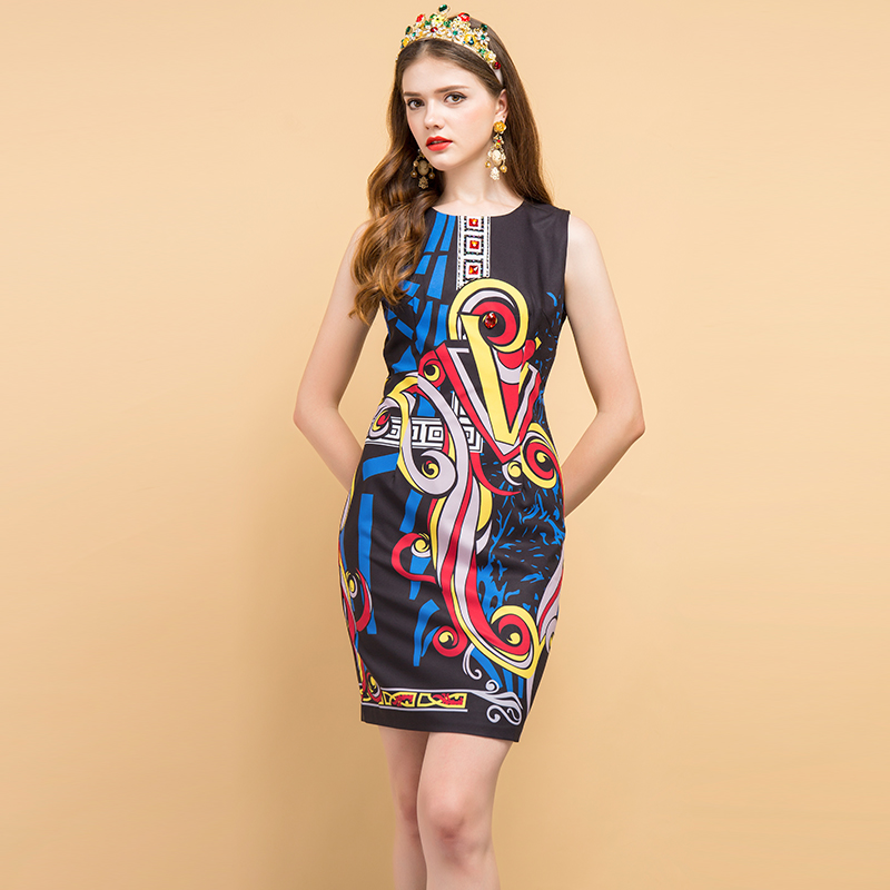 Baogarret 2019 Fashion Designer Summer Dress Women 39 s Sleeveless Beading Geometric Printed Elegant Vintage Ladies Dresses in Dresses from Women 39 s Clothing