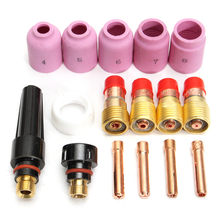 16 stks TIG Lastoorts Stubby Gas Lens Kit Cup Collet Body Nozzle voor WP 17/18/26 Lasmachine Accessoires(China)