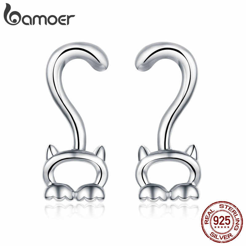 BAMOER Authentic 925 Sterling Silver Lovely Cat Kitten Long Tail Pussy Girls Stud Earrings Fashion Jewelry SCE564