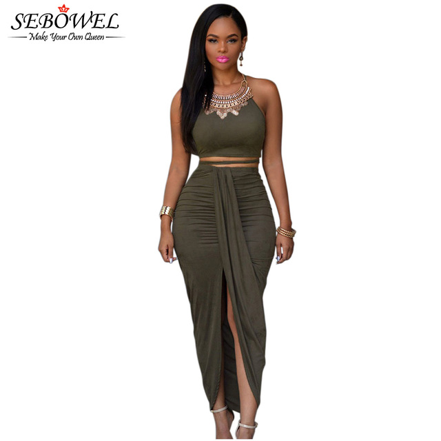 2016 Front Split Women Two Piece Set Outfits Asymmetrical Summer Maxi Dress Long Suede Bodycon Dress Green 2 Piece Bandage Dress